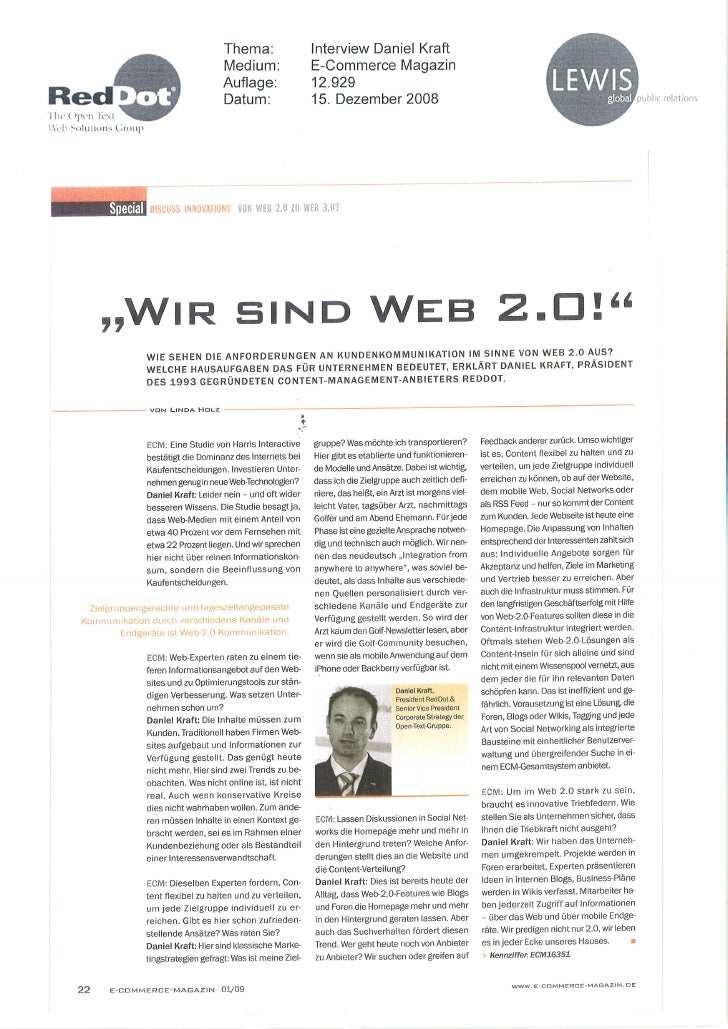 Dec 08 - Web 2.0 To Web 2.0 (E Commerce Magazin)