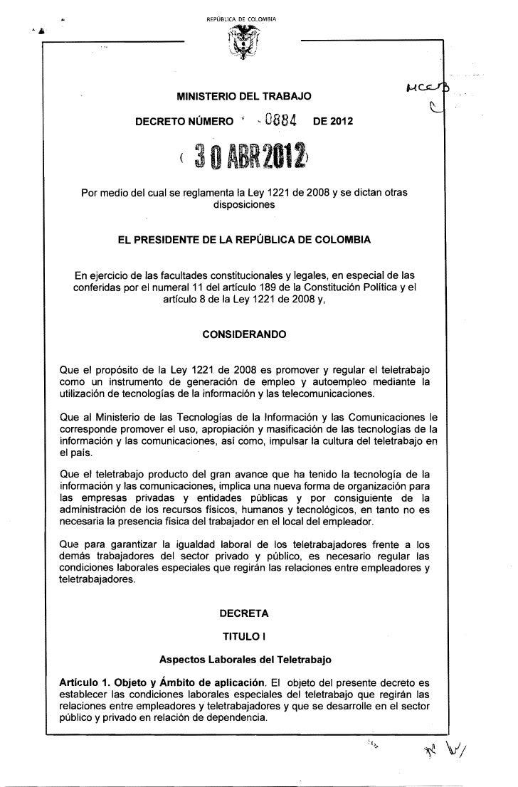 REPÚBLICA DE COLOMBIA                          MINISTERIO DEL TRABAJO                 DECRETO NÚMERO·¡              -   08...