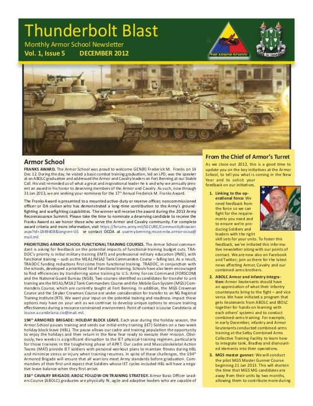 Thunderbolt BlastMonthly Armor School NewsletterVol. 1, Issue 5  DECEMBER 2012                                            ...