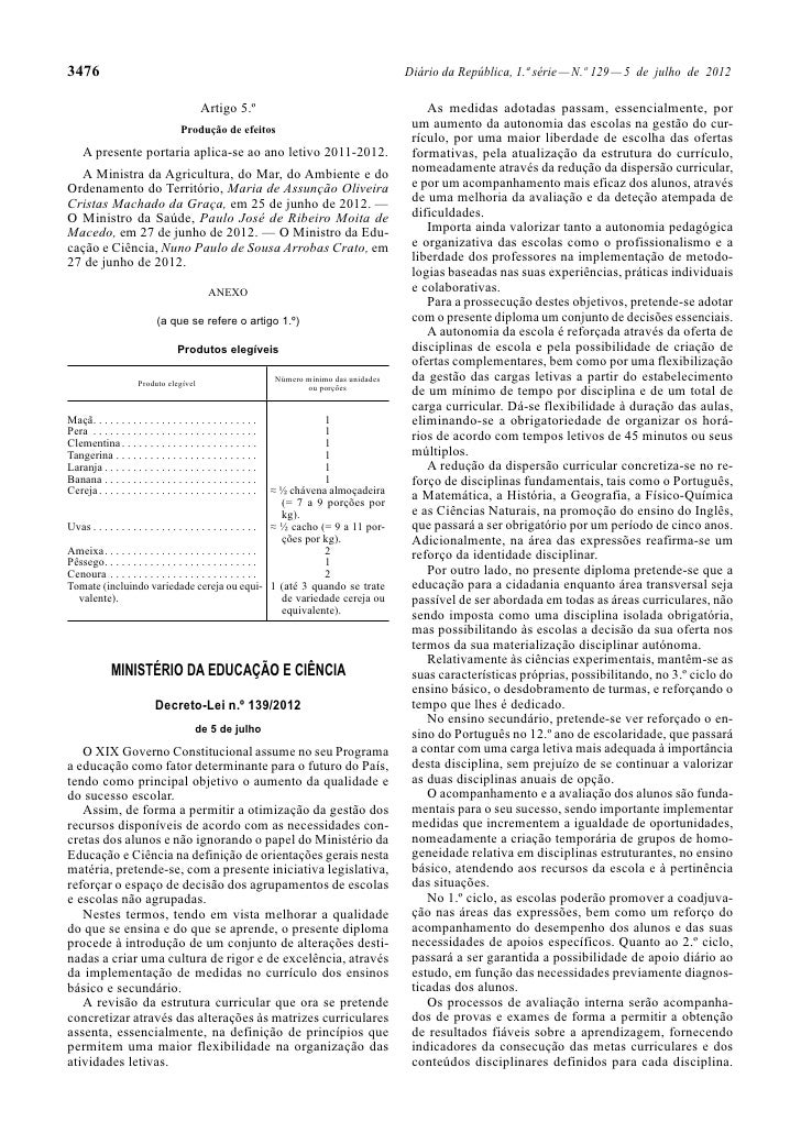Princípios orientadores da organização e da gestão dos currículos
