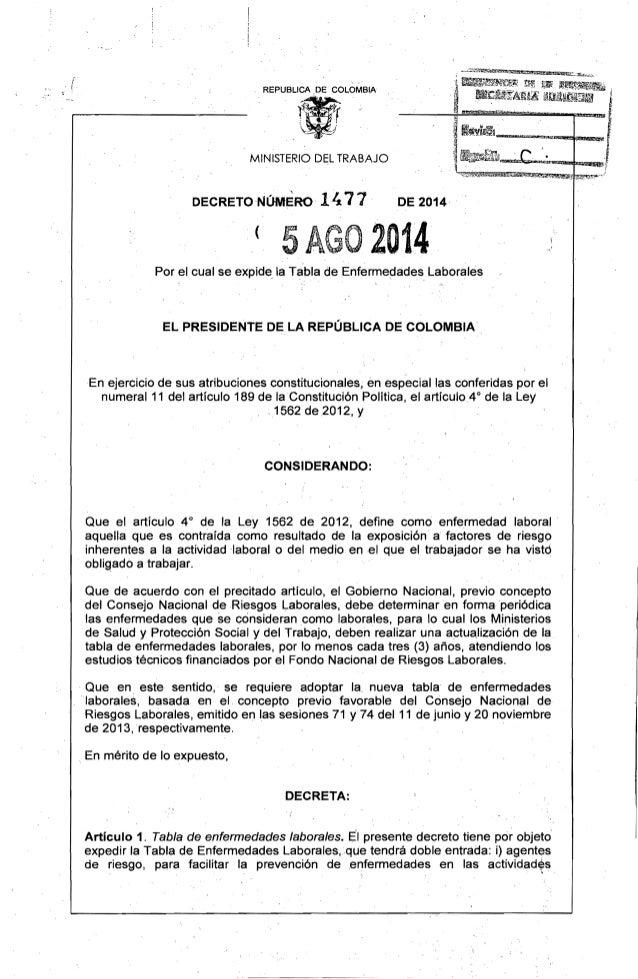 """REPUBLlCA ,DE COLOMBIA ,~ ~ .""""t....w!S!. -  1MINISTERIO DEL TRABAJO DECRETO NúMERO 1471 DE 2014 2014( 5A Por el cual se e..."""