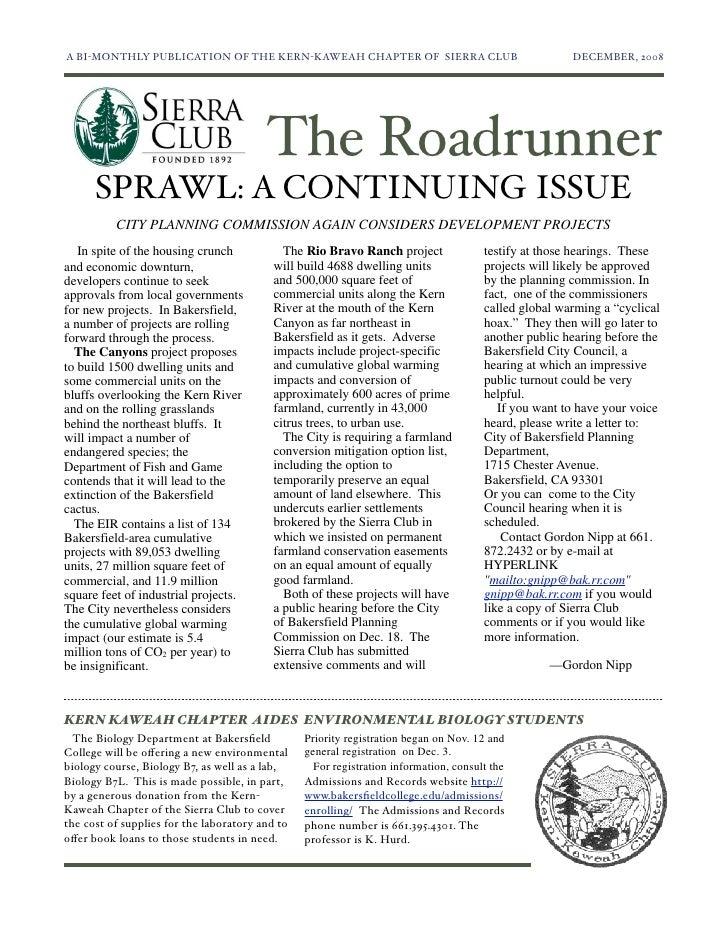 January-February 2009 Roadrunner Newsletter, Kern-Kaweah Sierrra Club