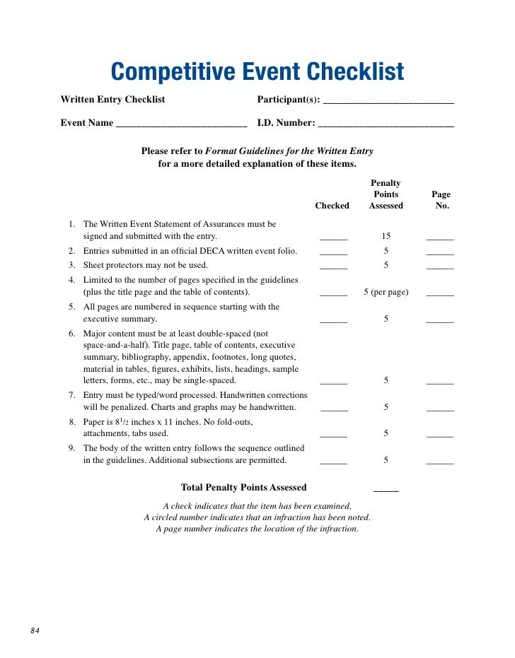 Competitive Event Checklist      Written Entry Checklist                               Participant(s): ___________________...