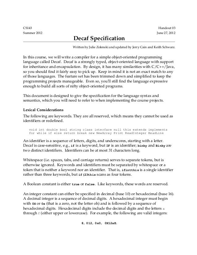Decaf language specification
