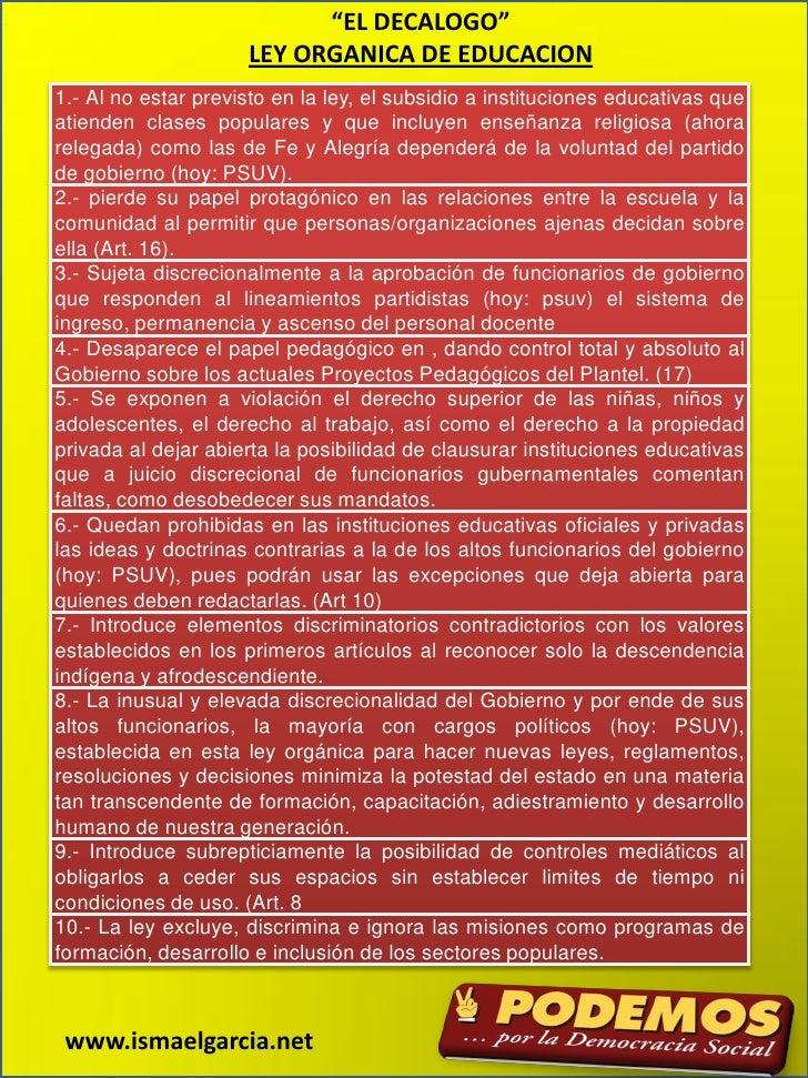 """""""EL DECALOGO""""                      LEY ORGANICA DE EDUCACION 1.- Al no estar previsto en la ley, el subsidio a institucion..."""