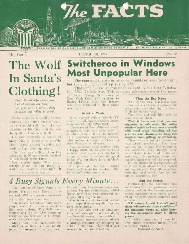BBB Cleveland December 1954 Newsletter