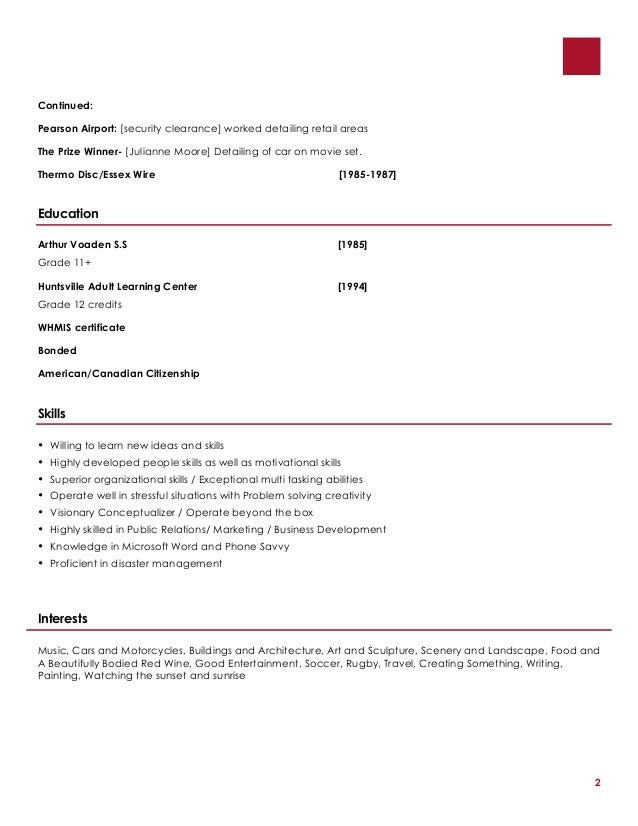 resume relevant coursework listing