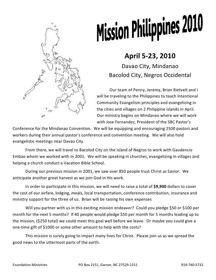 April 5-23, 2010                                                           Davao City, Mindanao                           ...