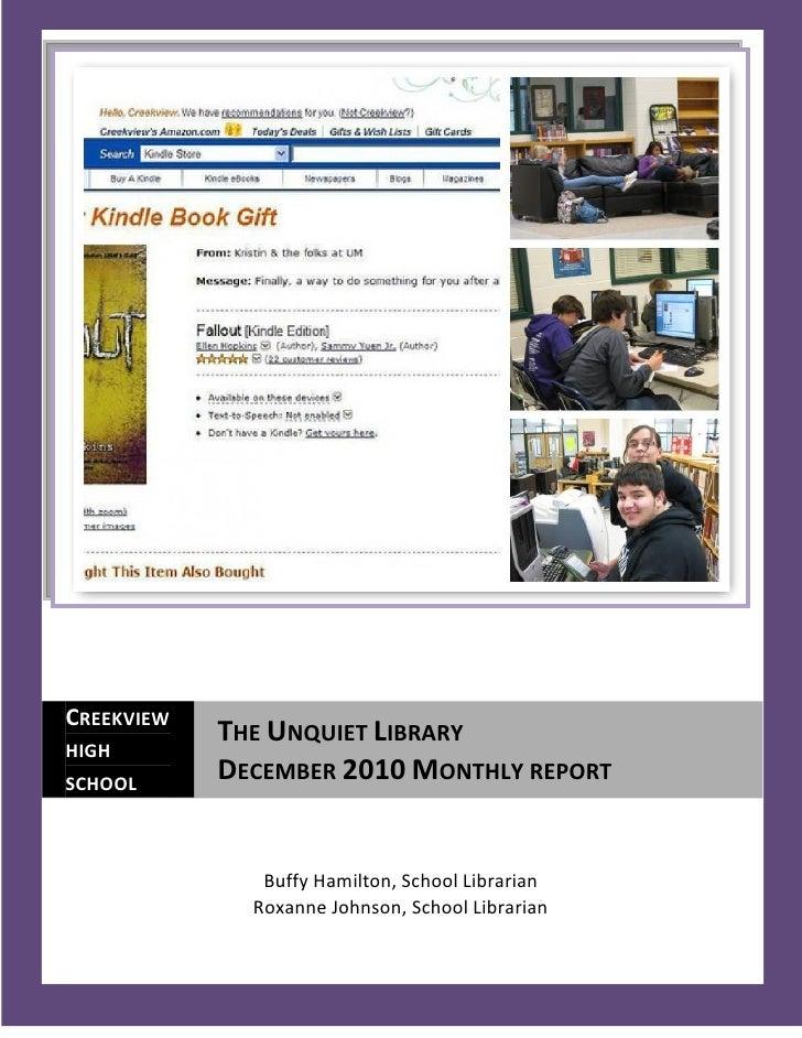 December 2010 Monthly Report