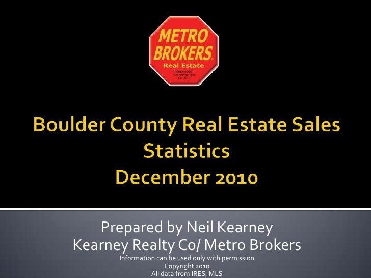 Boulder Colorado Real Estate December  2010 statistics