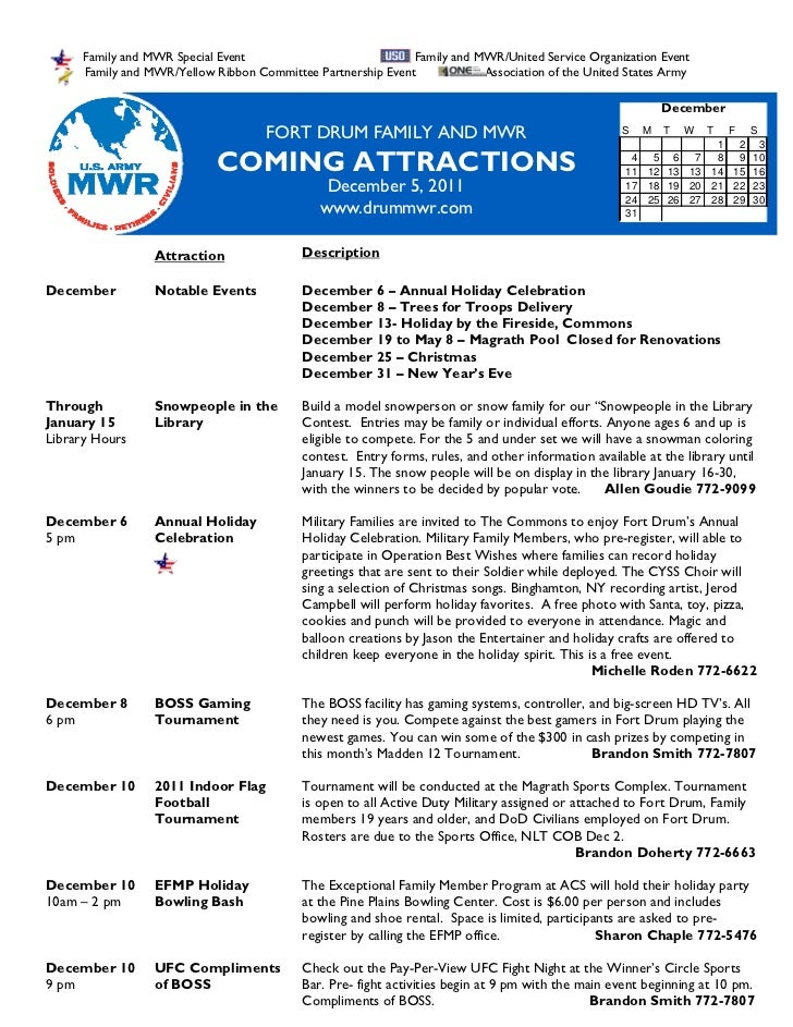 FMWR December 2011 Coming Attractions