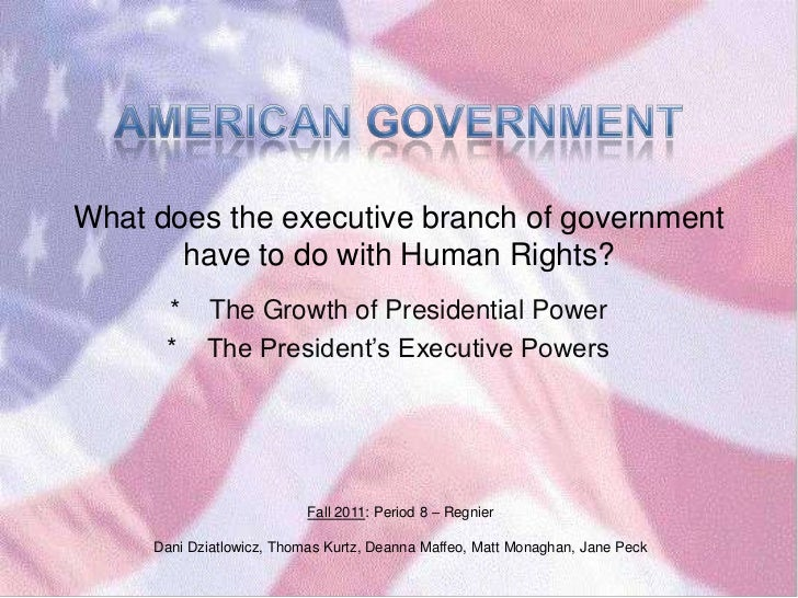 What does the executive branch of government       have to do with Human Rights?      *     The Growth of Presidential Pow...