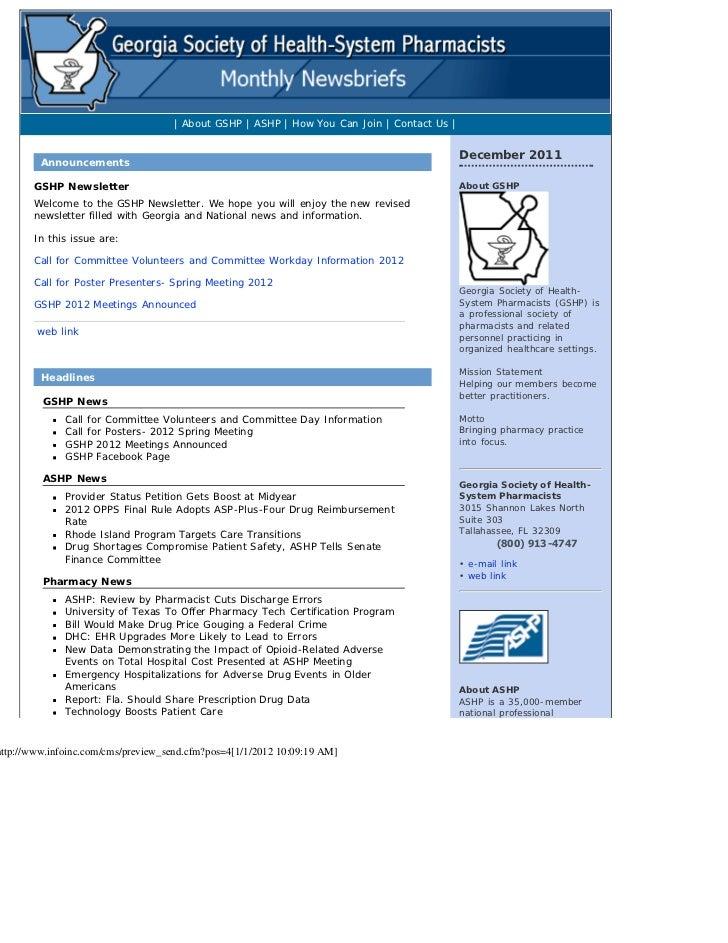 GSHP December 2011 Newsletter