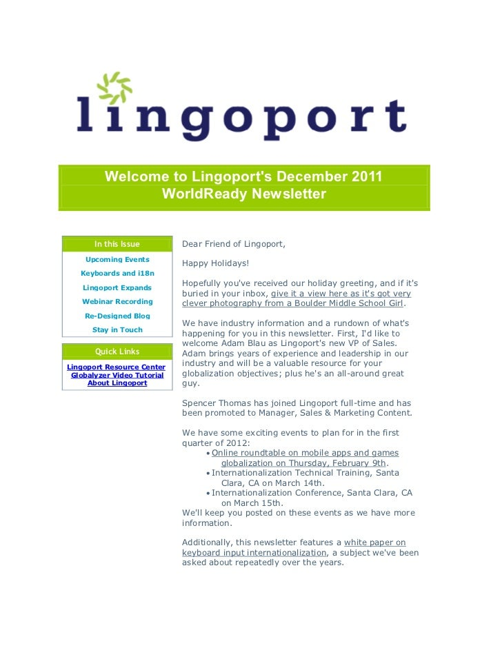 Welcome to Lingoports December 2011               WorldReady Newsletter       In this Issue         Dear Friend of Lingopo...