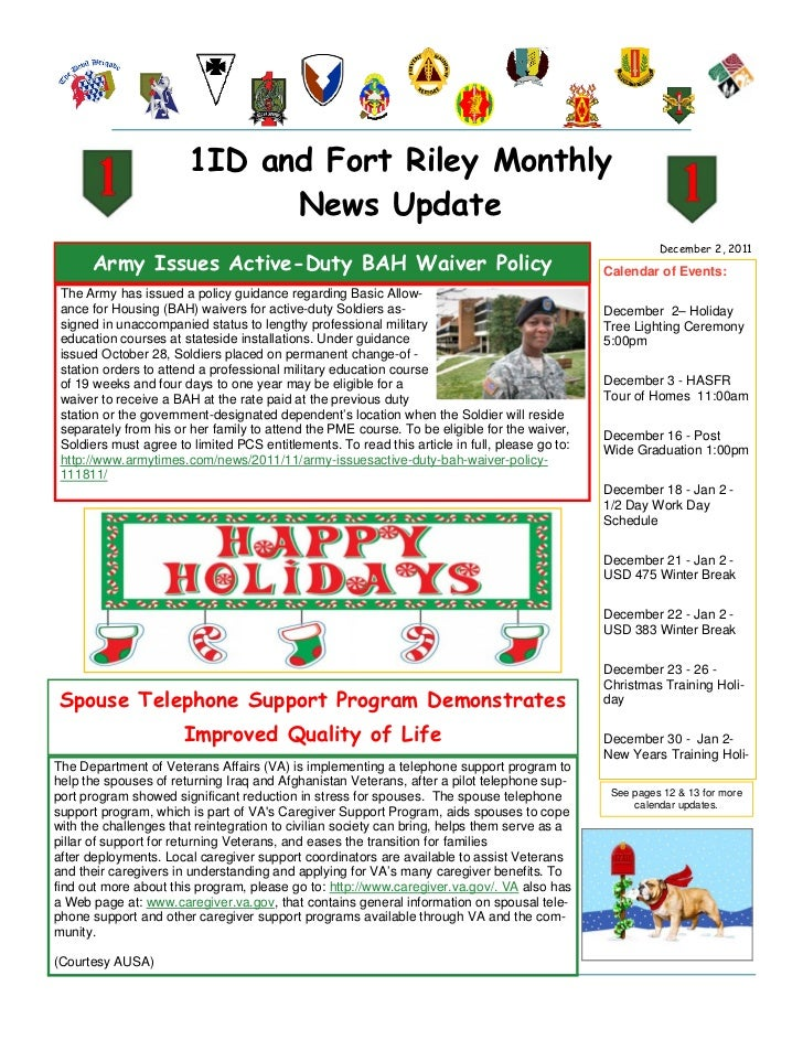 1ID and Fort Riley Monthly                              News Update                                                       ...