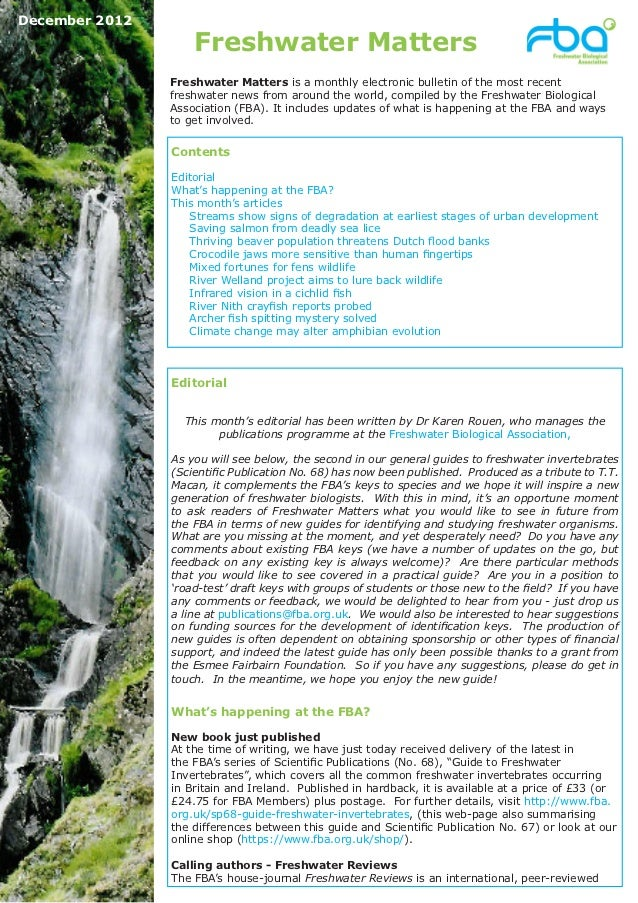 December 2012                    Freshwater Matters                Freshwater Matters is a monthly electronic bulletin of ...