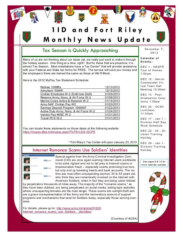 December 2012 1ID Fort Riley Monthly News Update