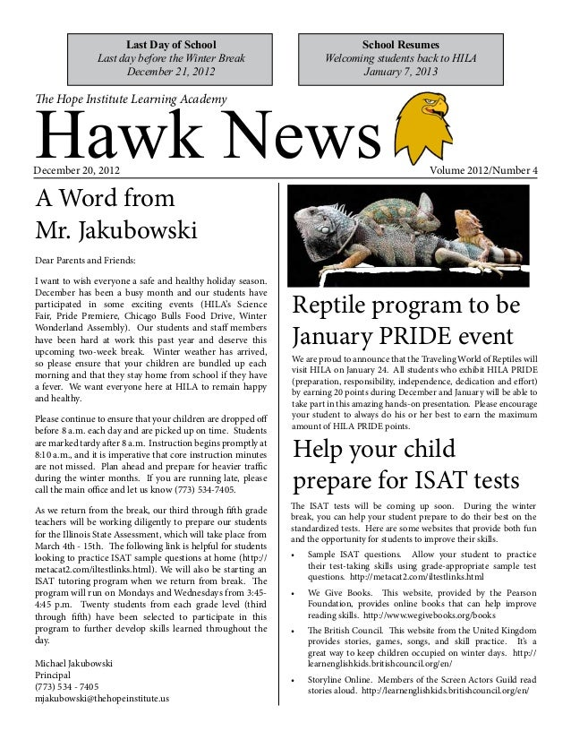 HILA Hawk News - December 2012