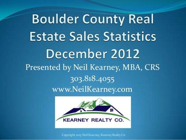 Boulder County December 2012 statistics