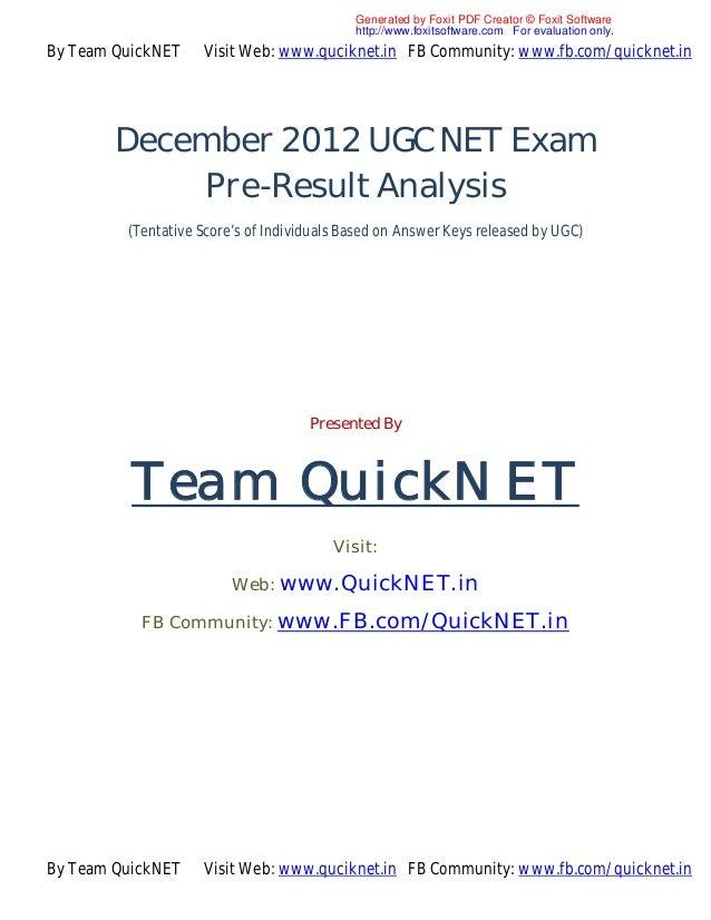 December 2012 ugc net exam pre results analysis