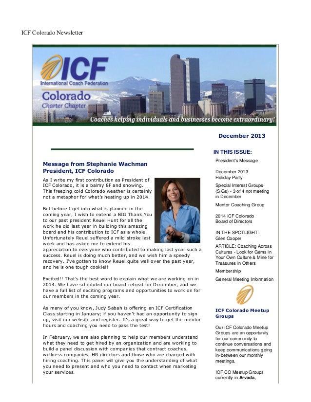 December 2013 ICF Colorado Newsletter