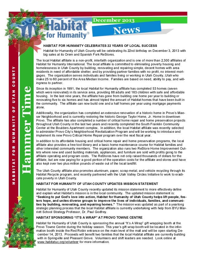 December 2013  N e w s  HABITAT FOR HUMANITY CELEBRATES 22 YEARS OF LOCAL SUCCESS  Hammer Time  HABBITAT FOR HUMANITY OF U...