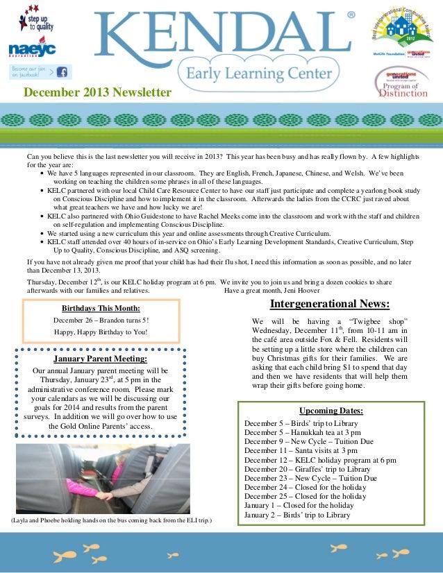 December 2013 newsletter format