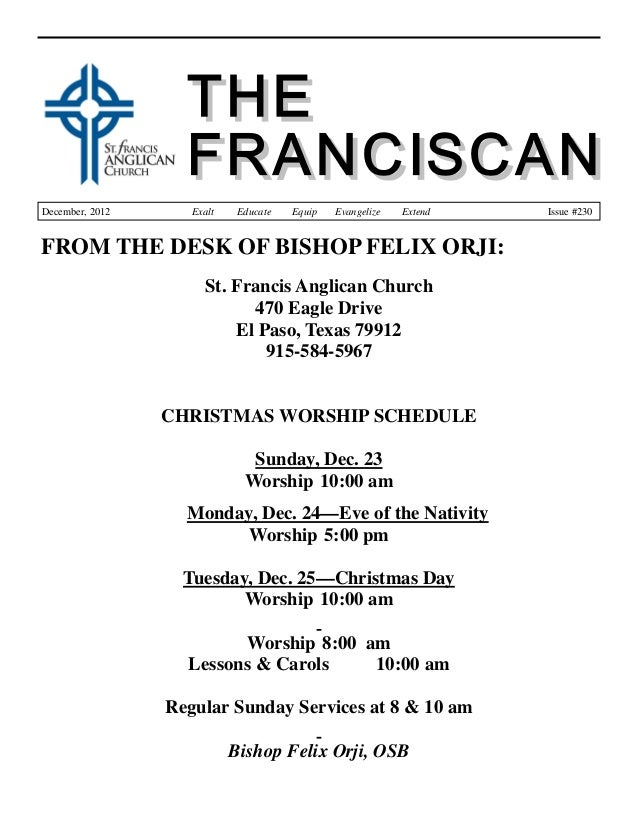 The Franciscan - December 2012