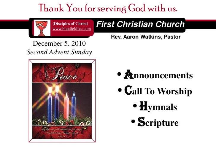 Thank You for serving God with us. <br />First Christian Church<br />(Disciples of Christ)<br />www.bluefieldfcc.com<br />...