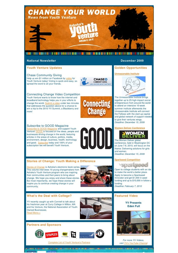 National Newsletter                                                                          December 2009   Youth Venture...