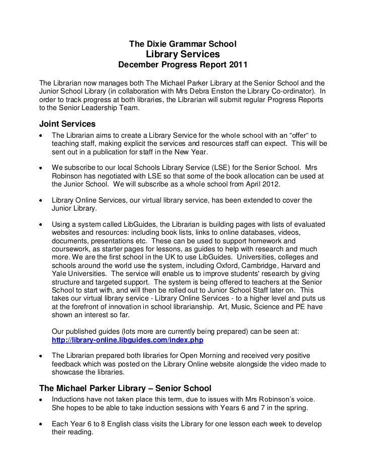 The Dixie Grammar School                                   Library Services                          December Progress Rep...