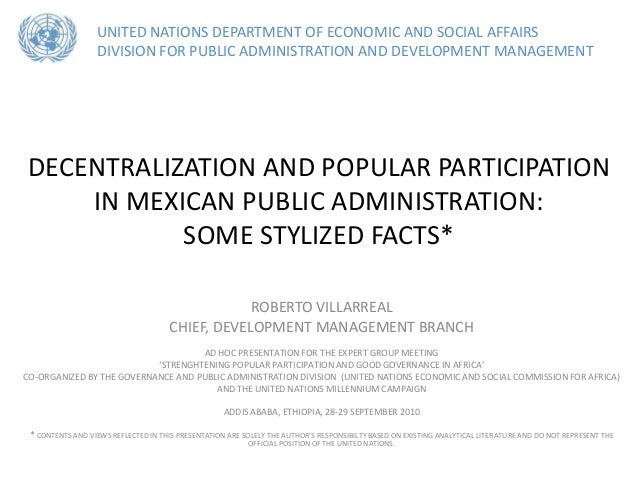 UNITED NATIONS DEPARTMENT OF ECONOMIC AND SOCIAL AFFAIRS                  DIVISION FOR PUBLIC ADMINISTRATION AND DEVELOPME...