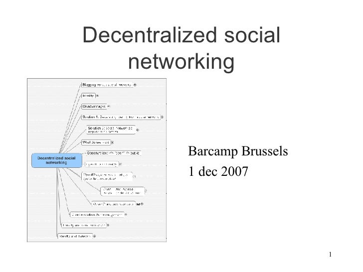 Decentralized social networking <ul><li>Barcamp Brussels </li></ul><ul><li>1 dec 2007 </li></ul>