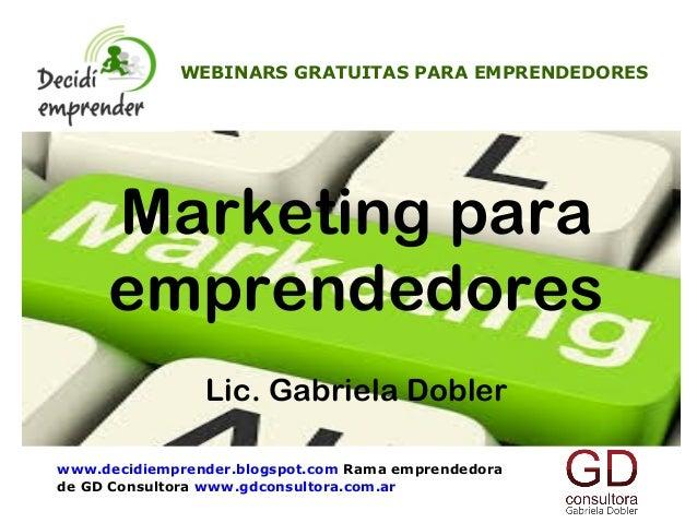 Decidi emprender webinar gratuita Marketing para emprendedores