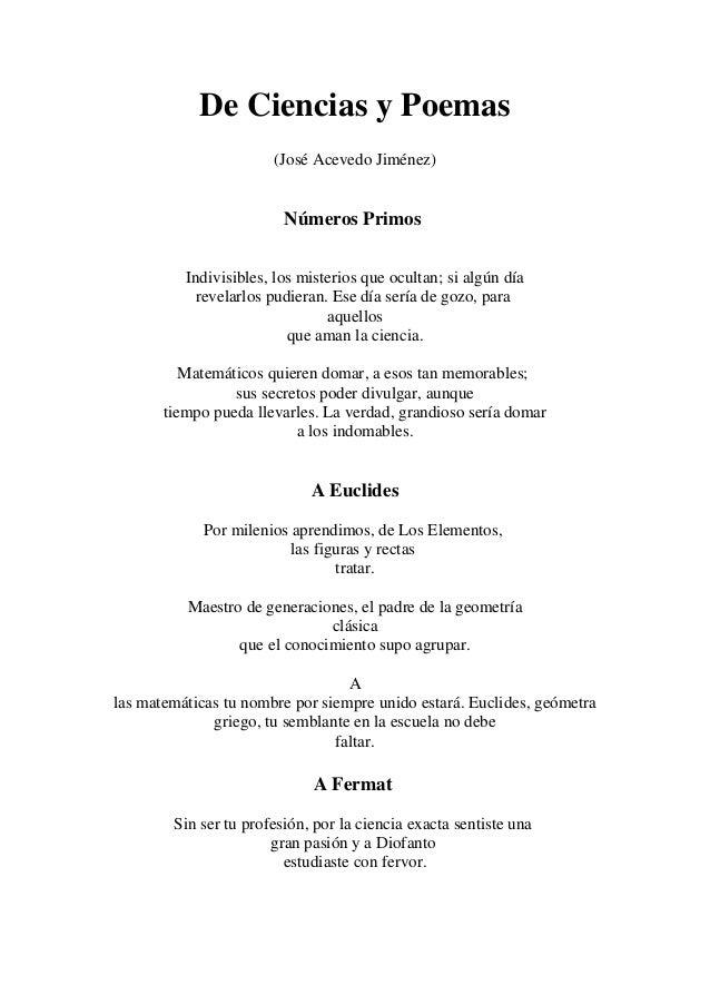 De Ciencias y Poemas (José Acevedo Jiménez) Números Primos Indivisibles, los misterios que ocultan; si algún día revelarlo...