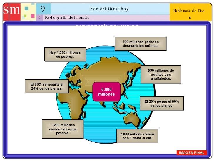 9 Ser cristiano hoy 1 Hablamos de Dios  10 Radiografía del mundo IMAGEN FINAL RADIOGRAFÍA DEL MUNDO 700 millones padecen d...