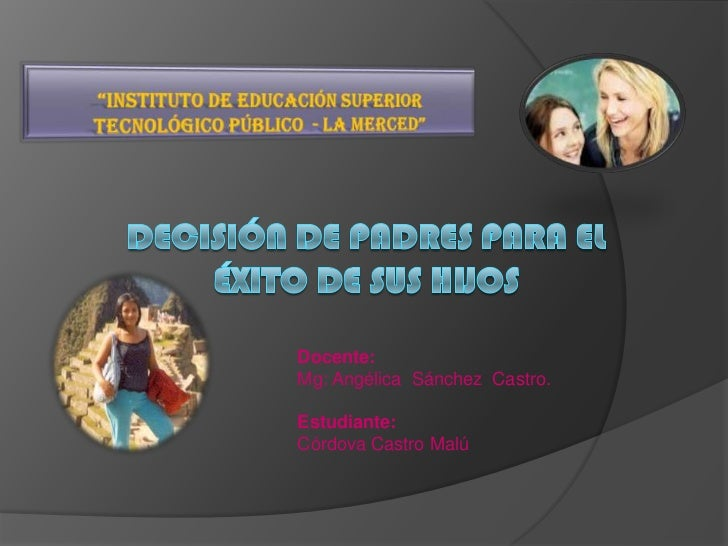 Docente:Mg: Angélica Sánchez Castro.Estudiante:Córdova Castro Malú
