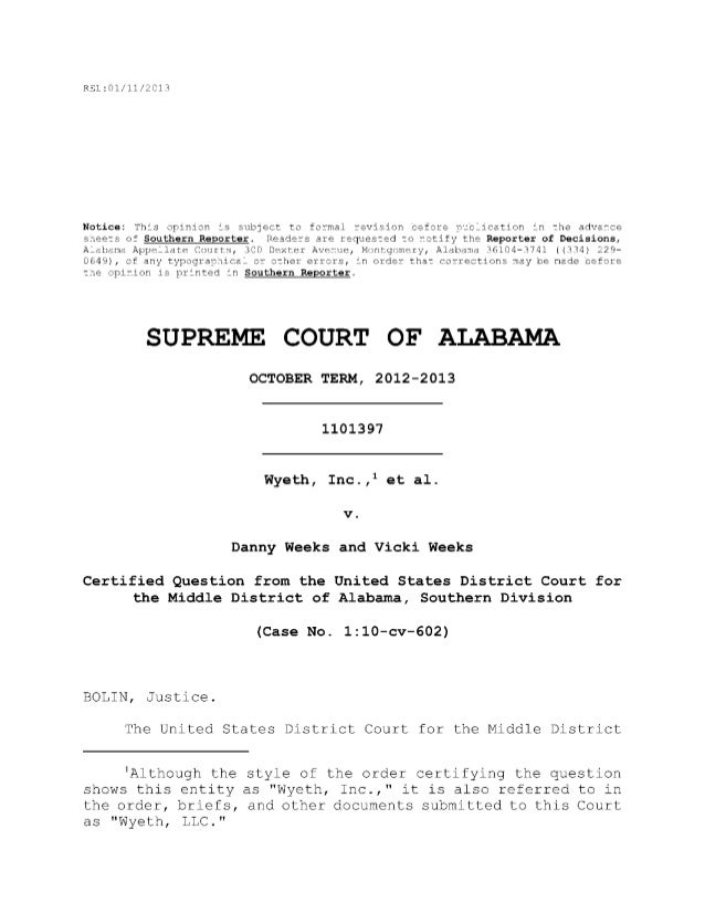 Decision  - wyeth v. weeks (supreme court of alabama)