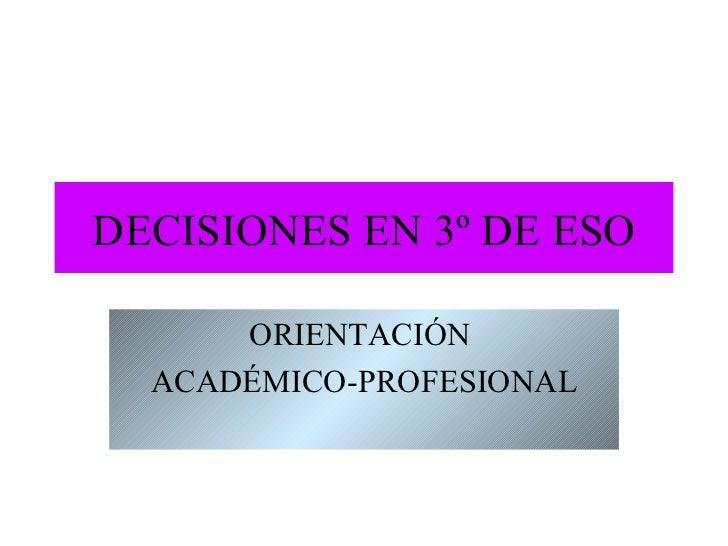 Decisiones en 3º ESO