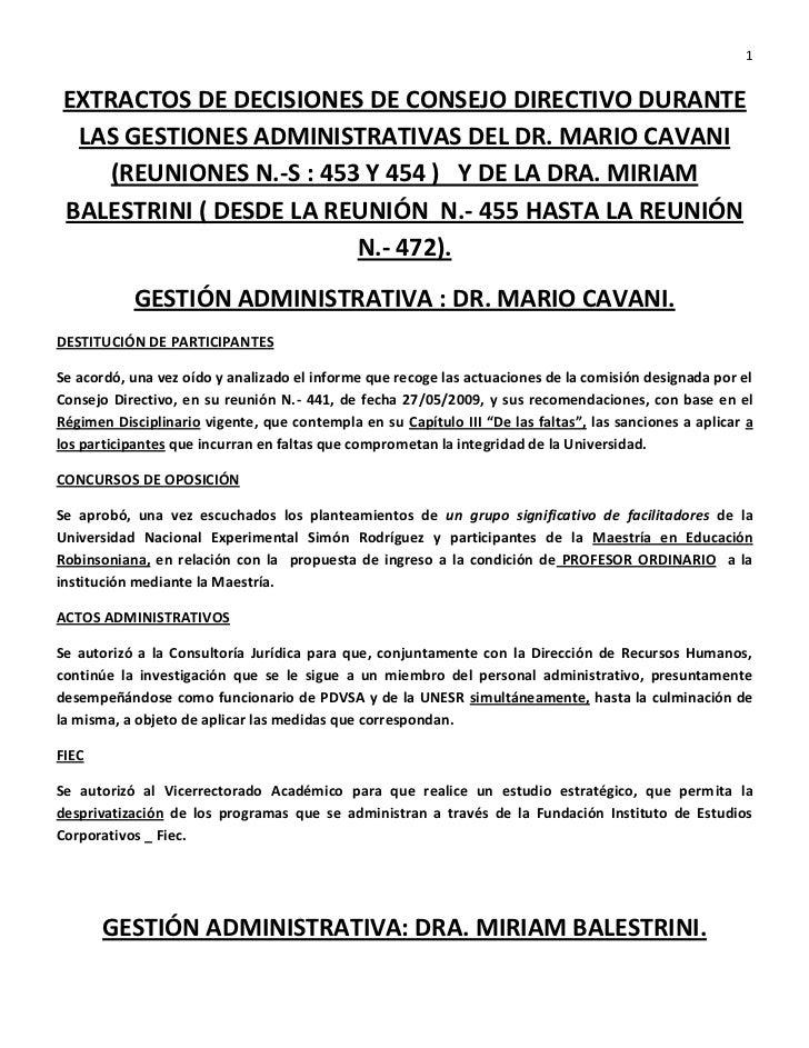 Decisiones del consejo directivo de la unesr nov 2011