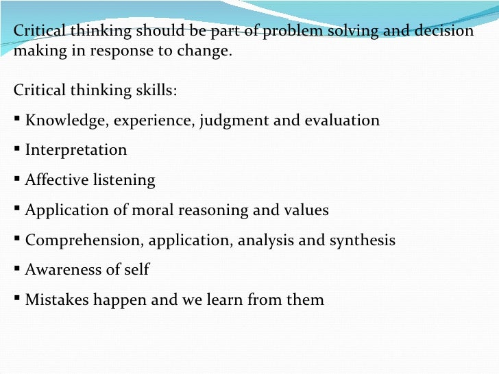 decision making and critical thinking exercises for employees Critical thinking for managers: to their colleagues and employees why because making decisions in today's world—a instead of making a quick decision.