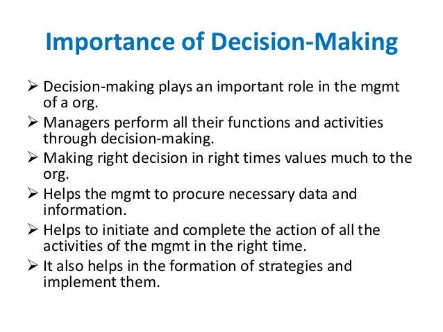 importance making good decisions essay The ability to choose the right choice depending on the problem it has, is the matter of decision making it is important to understand the process of individual decision making when a situation comes to decide for an optional way then the individual must concentrate on the good decision rather than wavering the fact is that.