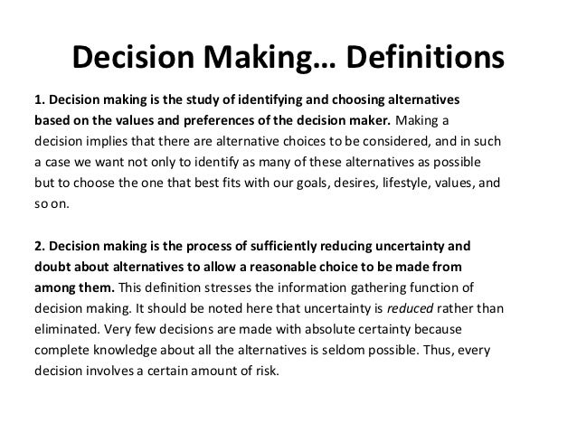 essay explaining process decision making Organization of process essays process essays: in a process essay essays explaining decision-making processes may be prescriptive, descriptive.