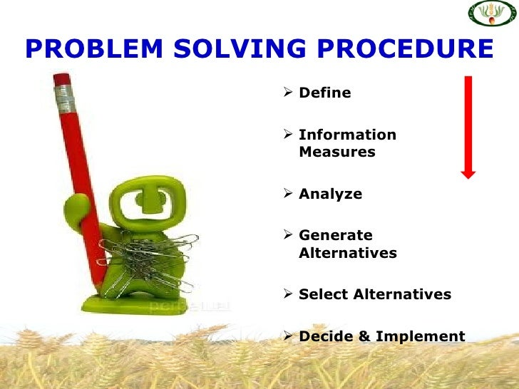 Definition of problem solving and decision making