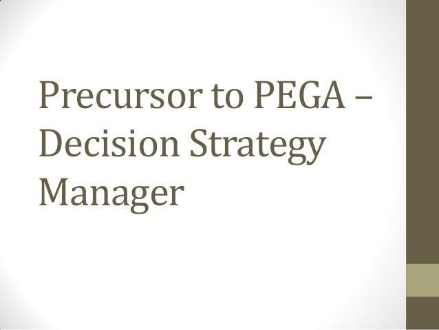 PEGA Decision strategy manager (DSM)