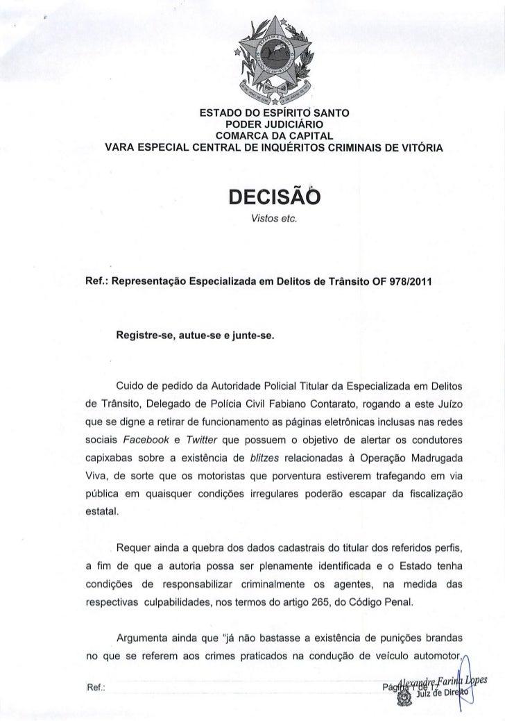 Íntegra da Decisão de Juiz Capixaba sobre Redes Sociais