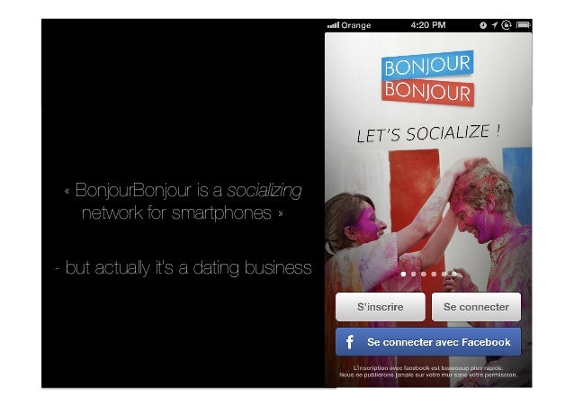 « BonjourBonjour is a socializing network for smartphones » - but actually it's a dating business