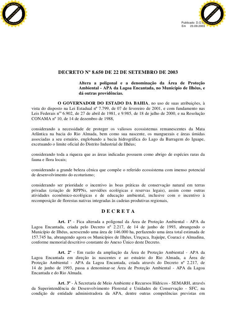 APA DA LAGOA ENCANTADA E RIO ALMADA  - Decreto de Criação da APA