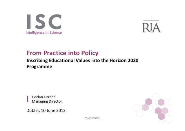 Values in University Education: From Practice Into Policy: Declan Kirrane