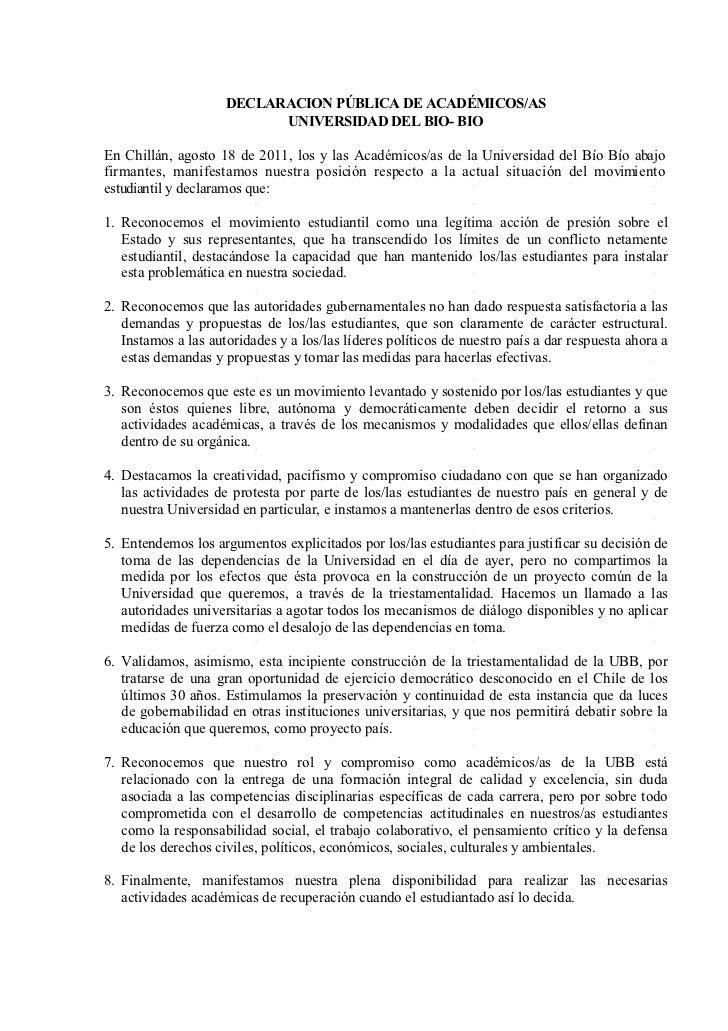 DECLARACION PÚBLICA DE ACADÉMICOS/AS                           UNIVERSIDAD DEL BIO- BIOEn Chillán, agosto 18 de 2011, los ...